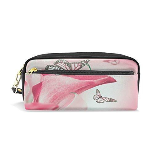 Trousse, papillon floral Rose Imprimé Voyage Maquillage Pouch Grande capacité étanche Cuir 2 compartiments pour filles garçons femmes Hommes