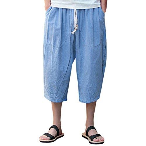 Paolian Pantalon Sarouel en Coton et Lin de Grande Taille pour Hommes 7 Pantalons, Pantalons Confortables en Tissu, Cravate avec Cordon de Serrage et Pantalons décontractés (XXXL, Bleu Ciel)