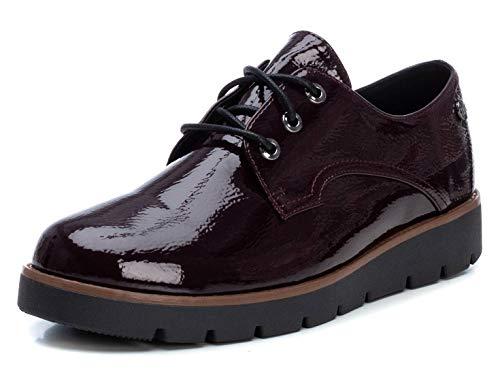 XTI - Zapato Oxford para Mujer - Cierre con Cordones - Burdeos - 36 EU (Ropa)