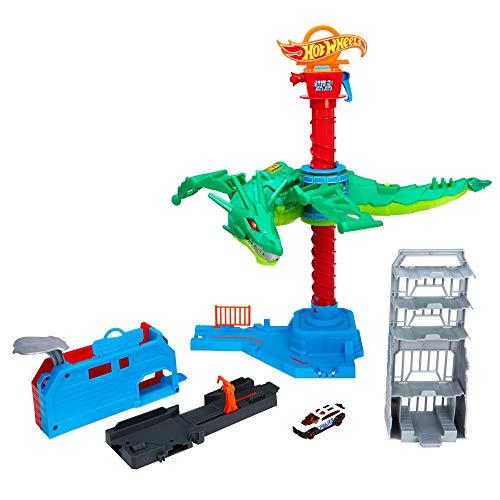 Hot Wheels City Attaque du Robot Dragon, coffret de jeu pour petites voitures à connecter avec circuit et pistes, jouet pour enfant, GJL13