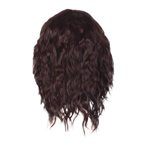 Femme Perruques à Frange Cheveux Naturels Court Wavy Wig Curly Postiches BoucléS (Noir)