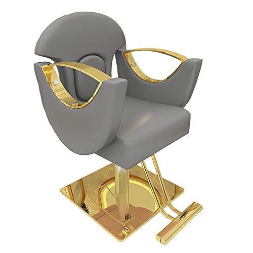 MYYU Peluquería Silla De Barbero para Salones De Belleza, Spas, Barberías, Altura Ajustable Altura Ajustable Y Rotación De 360 °,Gris