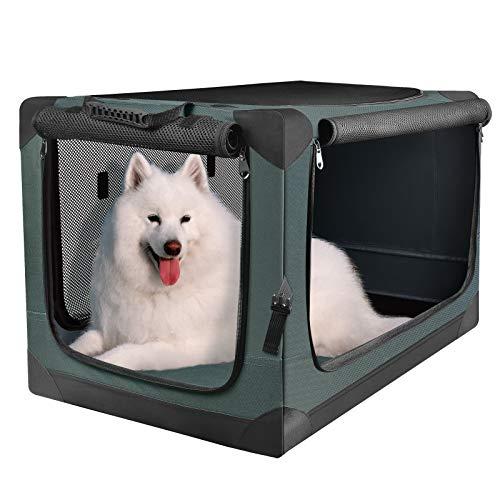 PUPPY KITTY Hundetransportbox Hundetasche Faltbare Transportbox Tragbare Autobox Haustiertragetasche Kleintiertasche für Auto, Drinnen und Draußen, Oxford Gewebe Armeegrün, 67x46x46CM