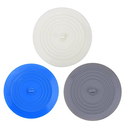V-TOP Tub Stopper 3 Pack, 6 inches Large Silicone Bathtub Stopper Drain Plug Sinks Hair Stopper Flat Suction Cover for Kitchen Bathroom and Laundry