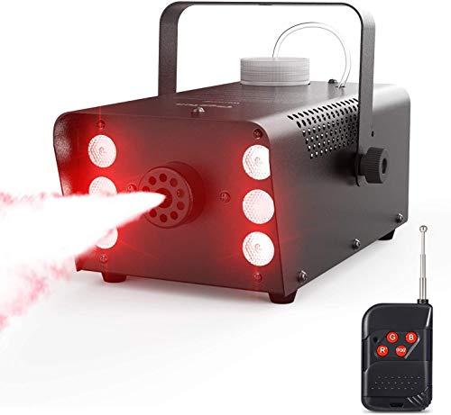 Nebelmaschine, Theefun 7 farbige 6 LEDs 500W Nebelmaschine Tragbare Rauchmaschine mit Kabellos Fernbedienung für Halloween, Party, Weihnachtsgeschenke, Hochzeit, Theater, Disco Club Bühneneffekt