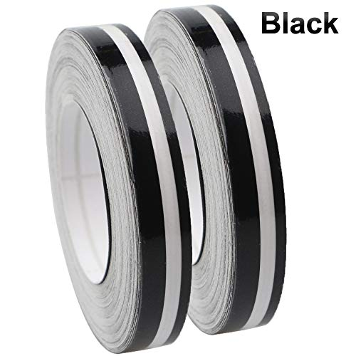 2 Rolls 33Ft (9.8m) Pinstripe Solid Pinstriping Tape Vinyl Car Decal Sticker Glossy 5mm + 2mm (White/Black/Grey/Red/Silver/Blue/Gold) Auto Car Pinstripe Tape (Black)
