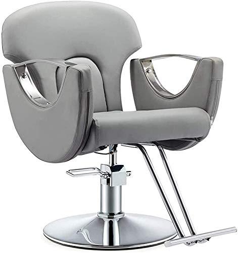Elegante silla oficina, silla giratoria Silla de peluquero | Silla de pelo hidráulico con taburete de reposapiés, capacidad de 150 kg | Sillón de silla giratoria de cuero de cuero de PU ajustable.