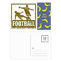 茶色のフットボール選手のスライドに取り組む バナナのポストカードセットサンクスカード郵送側20個