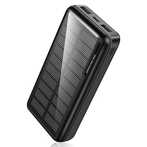 モバイルバッテリー ソーラー 30000mAh 大容量 Soluser ソーラーチャージャー 急速充電 残量表示 持ち運び ...