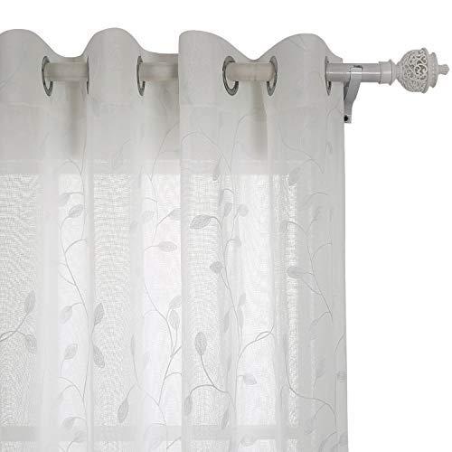 cortinas salon blancas con hojas