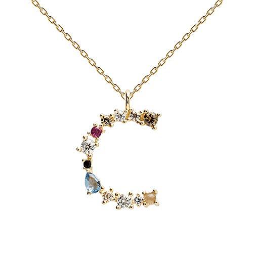 PDPAOLA - Collar Letra C - Plata de Ley 925 Bañada en Oro de 18k - Joyas para Mujer