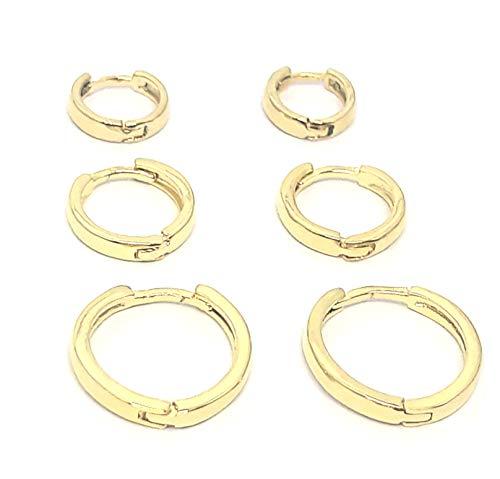 Trio de Brincos Argolas de Tamanhos Diferentes Para 1º, 2º e 3º furos Banhado a Ouro 18k