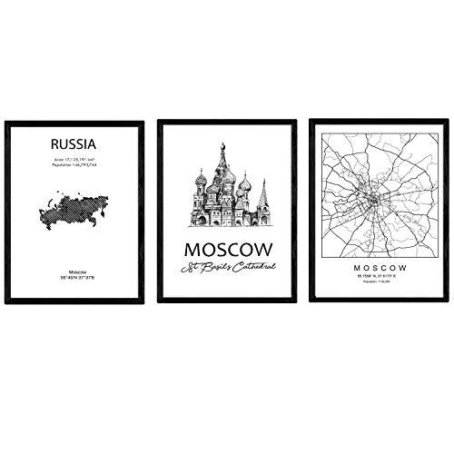 Pack de posters de paises y monumentos. Mapa ciudad de Moscu, monumento San Basilio y mapa Rusia. Tamaño A3 con marco