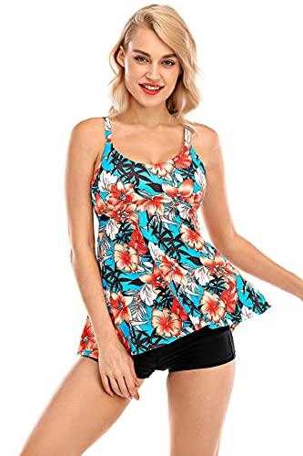 heekpek Traje de Baño Mujer Dos Piezas Flores Impresión Tankini Push Up Vest y Short Conjunto de Bañador Mujer
