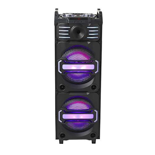 Denver 111151200020DJ Altavoz Bluetooth con Dos iluminadas 25,4cm (10Pulgadas) speakern + Tweeter, Práctico Ruedas, Puerto USB, Lector de Tarjetas SD, Entrada Auxiliar, Entrada de Guitarra Negro