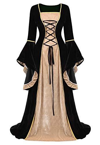 jutrisujo Mittelalter Kleidung Damen samtkleid lang samt Kleid Renaissance viktorianischen kostüm maxikleid Vintage Retro trompetenärmel Schwarz S