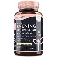 Vegan Evening Primrose Oil 1000mg - 120 High Strength Softgels (Alternative to Capsules) - Rich Sour...