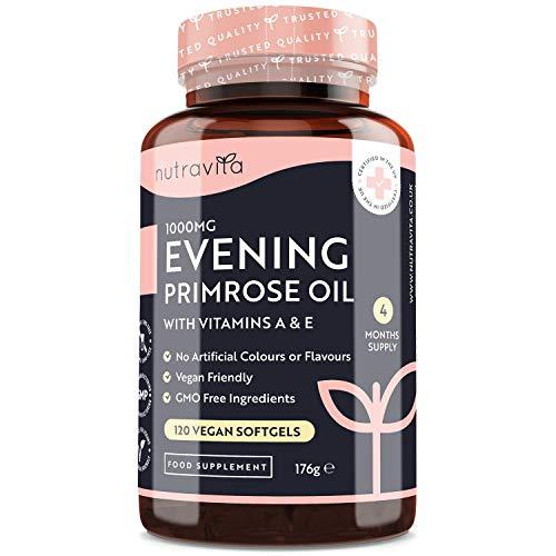 Aceite de onagra 1000 mg - 120 cápsulas blandas veganas de alta resistencia - Rica fuente de omega 6 y GLA - con vitamina A y vitamina E - Mantenimiento de la piel normal - Fabricado por Nutravita