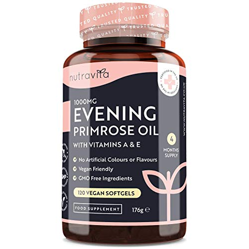 Evening Primrose Oil 1000mg - Rich Source of Omega 6 & GLA - with Vitamin A & Vitamin E - 120 High Strength Vegan Softgels - Maintenance of Normal Skin - Made in The UK by Nutravita
