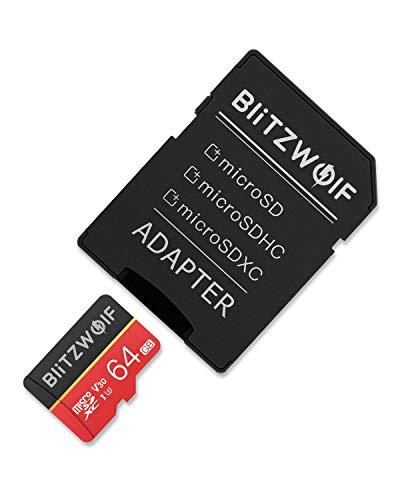 BlitzWolf TF Karte, 64GB Micro Speicherkarte Klasse 10 UHS-1 SD Karte Speicher Memory Flash Card + SD Adapter für Telefon, Tablet und PC(64GB)