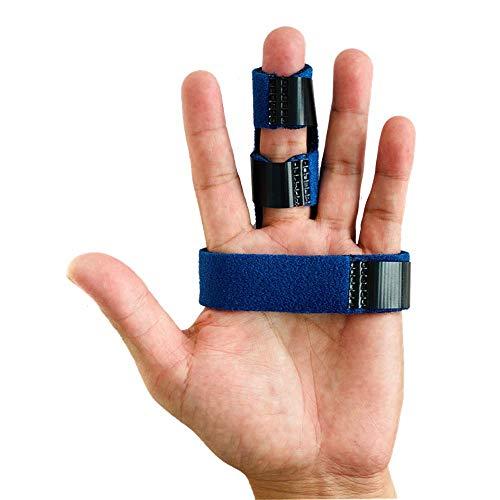 指サポーター ばね指 突き指 腱鞘炎 関節痛 リュウマチ トリプル固定 連結固定 小指 薬指 人差し指 中指 手 固定 サポーター バスケ バレー スポーツ 男女兼用 フリーサイズ (紺)