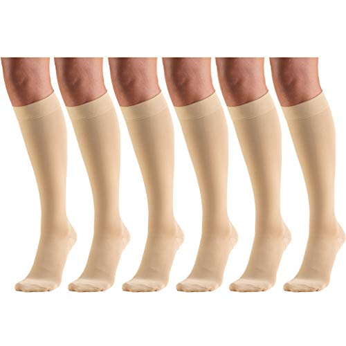 Short Length 20-30 mmHg Compression Stockings for Men and Women, Reduced Length, Closed Toe Beige Large (6 Pairs)
