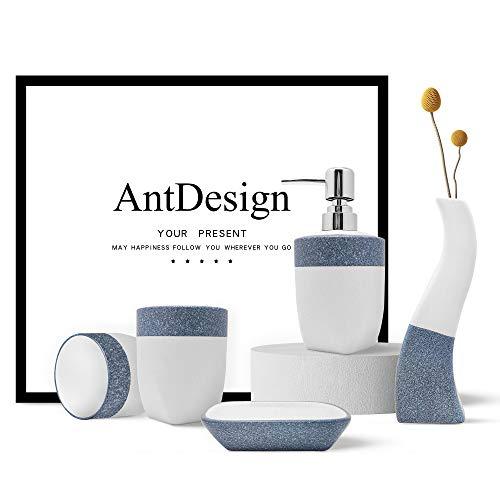 Blaues Badezimmer Zubehör Set, 5-teilig, Keramik Handpumpe, Seifenspender, Seifenschale, Zahnbürstenhalter und Vase, für moderne Badezimmerdekoration