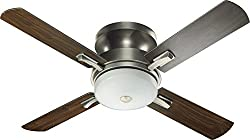 "Quorum 65524-92, Davenport Antique Silver Flush Mount 52"" Ceiling Fan w/Light & Wall Control"