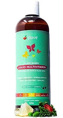 Yuve Vegan Liquid Daily Multivitamin - Vitamins A B C D3 E, Zinc, Biotin, Opti MSM, Minerals & Amino Acids Complex (BCAA) - Natural, Non-GMO, Paleo, Sugar & Gluten Free