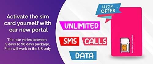 DBS Wiederverwendbare SIM-Karte für USA, unbegrenzte Anrufe, SMS und 4G LTE Datenloses Streaming, Nano, Micro, Standardgröße (15 Tage)