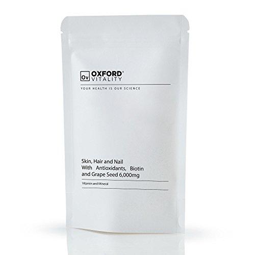 Skin Hair Nails Supplement | Tablets Including Vitamin A, C, E, Selenium, Biotin & Grape Seed | Oxford Vitality