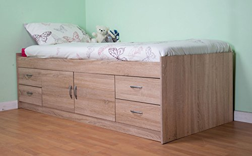 Mrsflatpack Cabin Bed Single Midi with Drawers and Storage Gamma - AM2360 (Oak)