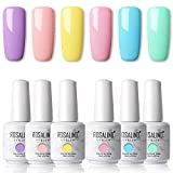 ROSALIND 15ml Color Nail Gel Vernis Semi Permanent Jaune,Bleu Rose Vernis à Ongles UV Gel Nail 6pcs Polish Ongles