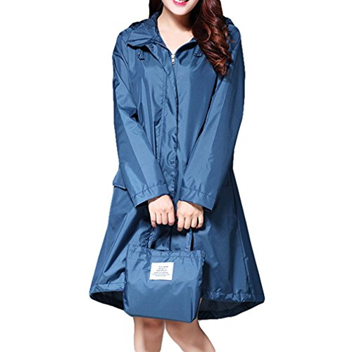 Juleya wasserdichte Frauen Regenjacke Mit Kapuze Lange Regenjacke Atmungsaktive Regenmantel Poncho Outdoor Regenbekleidung Blau Grün 2XL