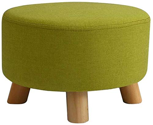 SJB Ronde Deluxe voetenbank, voetenbank, beklede kruk, puur gevulde ottoman kruk, voetenbankje, houten poten 3 kleuren