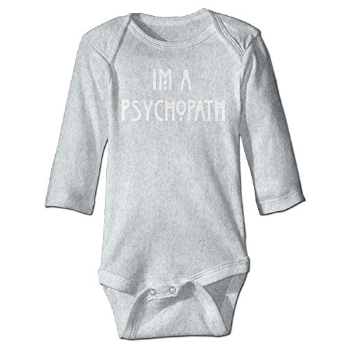 Body de manga larga para beb con diseo de orugas, unisex, para beb, para beb, Im A psicpata, traje de manga larga, traje de sol, color ceniza