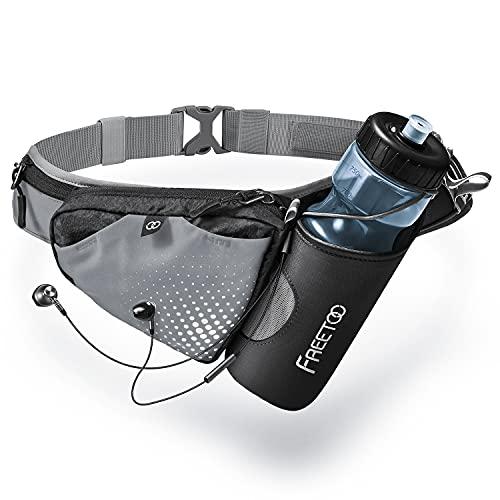 FREETOO Hüfttasche Trinkgürtel Laufgürtel mit Trinkflasche Verstellbar Bauchtasche Gürteltasche mit Flaschenhalter Trinkgürtel für Jogging Outdoor Wandern Camping Radfahren(Flasche Nicht enthalten)