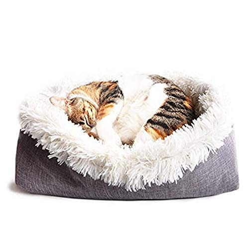 Saco de dormir para gatos (61 x 51 cm, plegable, algodón), color blanco