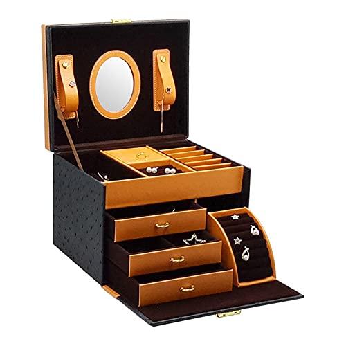 NBLL Caja de joyería, Organizador de Joyas, Caja de Almacenamiento de Joyas de Cuero de Tres Capas, Forro de Terciopelo, con Espejo, para almacenar Anillos, Pulseras, Pendientes, Collares