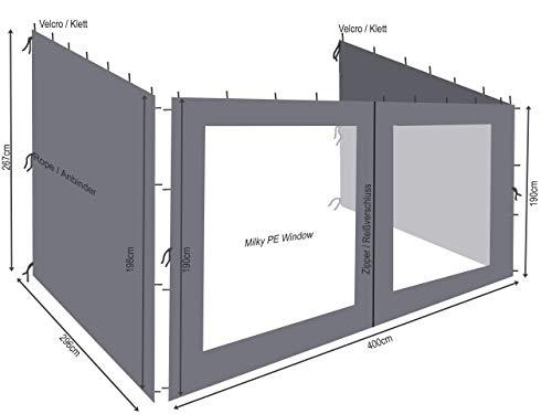 QUICK STAR 3 pareti Laterali per Tenda da Parete pergola 3x4m Antracite