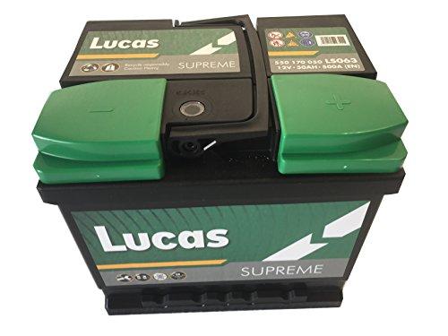 Lucas Supreme Ls063 Batterie Voitures, 12 V 50Ah 500 Amps (En)