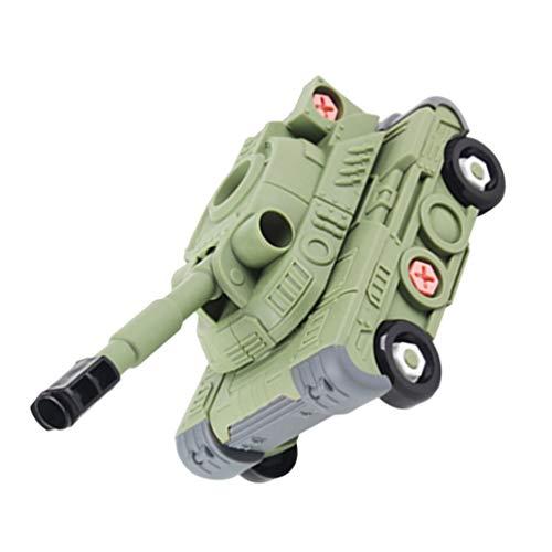 TOYANDONA Conjunto de Vehículo de Construcción con Destornillador Y Herramientas Modelo de Tanque Juguete Tallo Educación Construir Juguetes de Juguete Regalos para Niños Niñas Verde