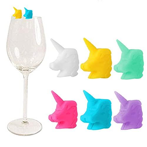 Segnabicchieri in Silicone per Feste, 12 Pezzi Segnabicchieri Silicone Marcatore Per Bicchieri a Forma di unicorno, per Bar Feste Tutte le Occasioni, 6 Colori