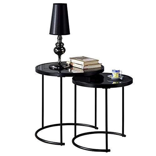 IDIMEX Couchtisch LEYRE im 2er Set,runder Beistelltisch 2-Satztisch mit Glas in schwarz, Sofatisch im modernen Design