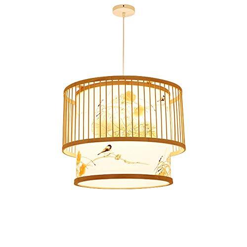 Lámpara de Bambú Lámparas de Luz Retro Lámparas de Mimbre Lámparas de Araña Sala de Estar Lámpara de Techo de la Casa de Campo, Sombras de Mimbre de Mimbre Tejido Lámpara Linterna, C-L, 60cm
