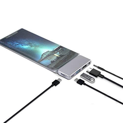 MIAO. Adaptador USB C HUB con 4K HDMI, Puerto USB 3.0, Audio de 3.5 mm, USB-C, USB-C PD, Compatible con MacBook Pro/Air, más de Dispositivos Tipo C
