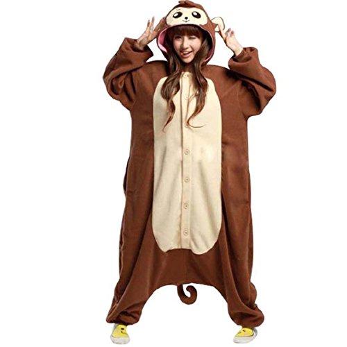 Pijamas Enteros Cosplay Adulto Ropa de Dormir Hombre Camisones Disfraces Carnaval Ropa Pijamas de Una Pieza Mujer Marrón