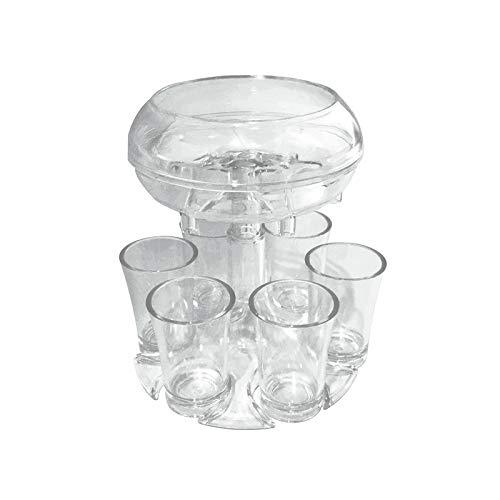 XGzhsa Dispensador de copas de vino, 6 vasos de chupito y juego de soportes, dispensador de vino transparente acrílico con 6 tazas, ideal para fiestas, bares, cervezas, bebidas, cócteles, vinos