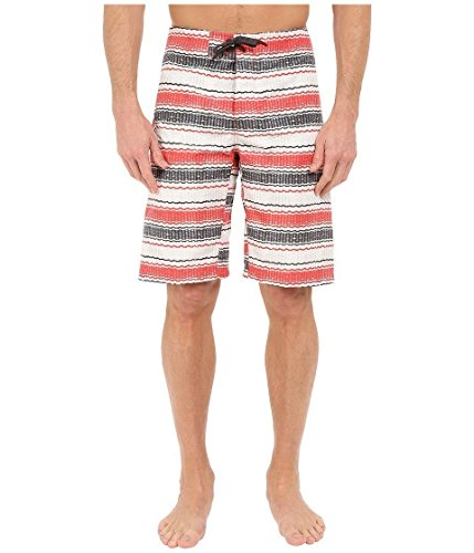 Columbia Men's Coast On By Board Short, Sunset Red Burly Stripe, 36x11