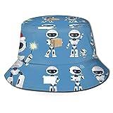 Sombrero de Pescador Unisex Robot Divertido Set Iconos Blanco Hermoso Plegable De Sol/UV Gorra Protección para Playa Viaje Senderismo Camping
